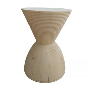 Wood Hourglass Stool