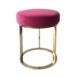 Brass Frame Pink Low Stool
