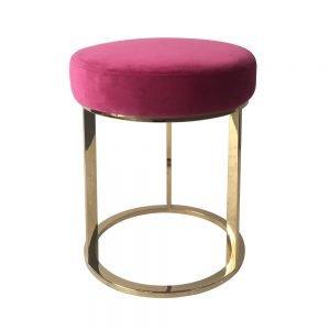 Brass Frame Pink Low Stool