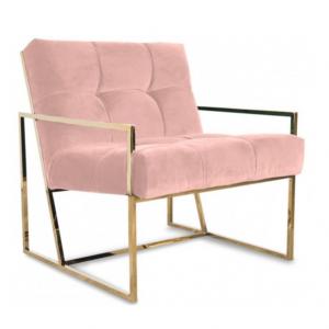 Pink velvet lounge chair