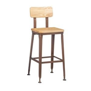 Wooden Industrial H Bar Stool