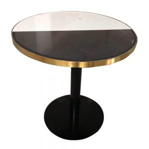 HPL table top with metal edge