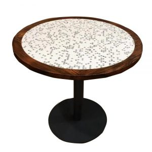 penny round table with wood edge